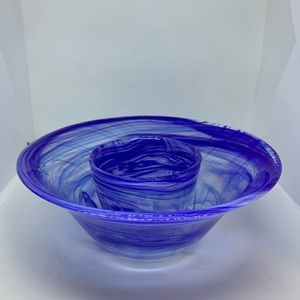 2 Cobalt Blue Swirled Glass Serving Bowl Japan